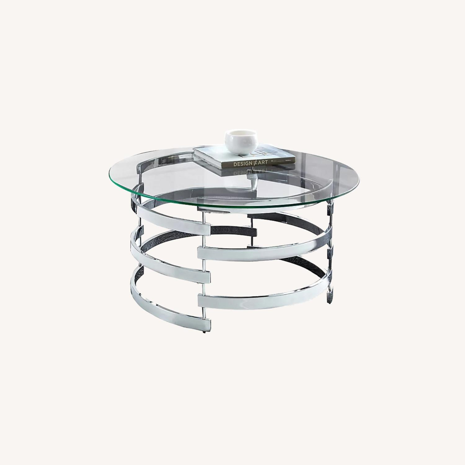 Steve Silver Co. Glass and Chrome Coffee Table - image-0