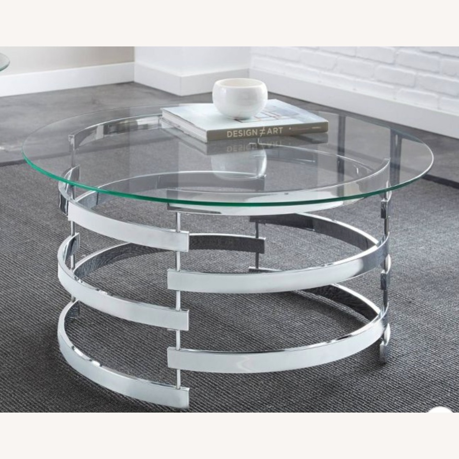 Steve Silver Co. Glass and Chrome Coffee Table - image-3