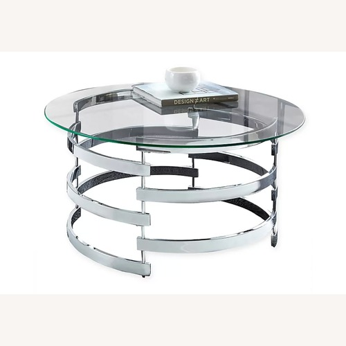 Used Steve Silver Co. Glass and Chrome Coffee Table for sale on AptDeco