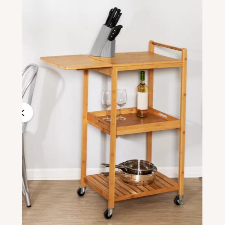 "Wayfair Enrique 38"" Bamboo Kitchen Cart - image-2"