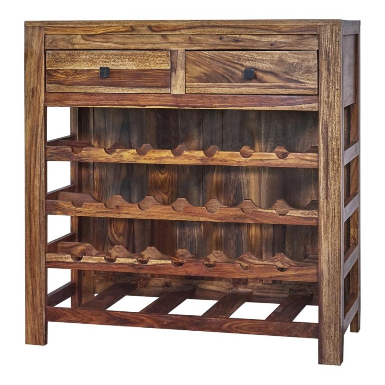 Wine Cabinet In Natural Sheesham Wood Finish - image-0