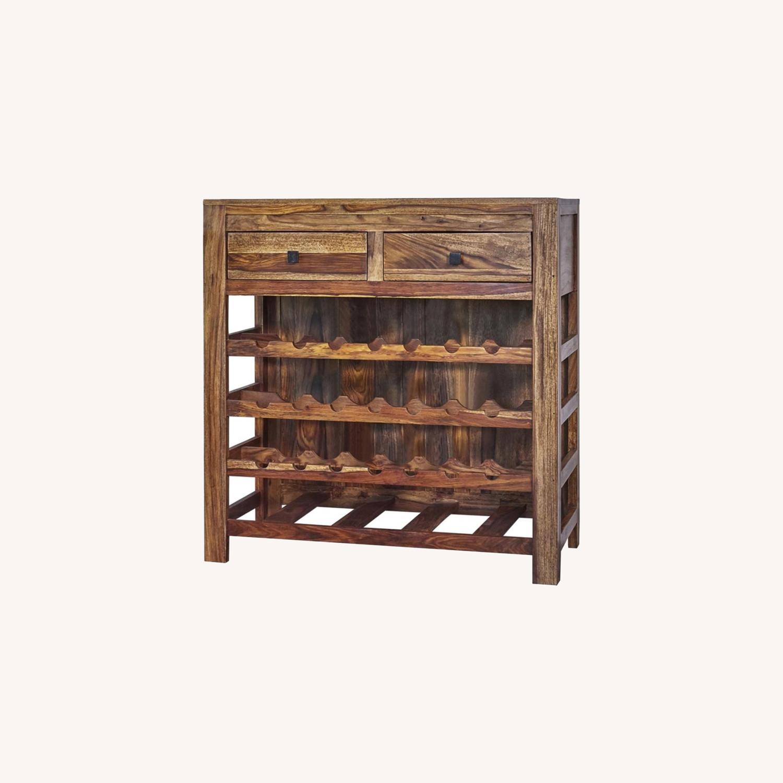 Wine Cabinet In Natural Sheesham Wood Finish - image-4