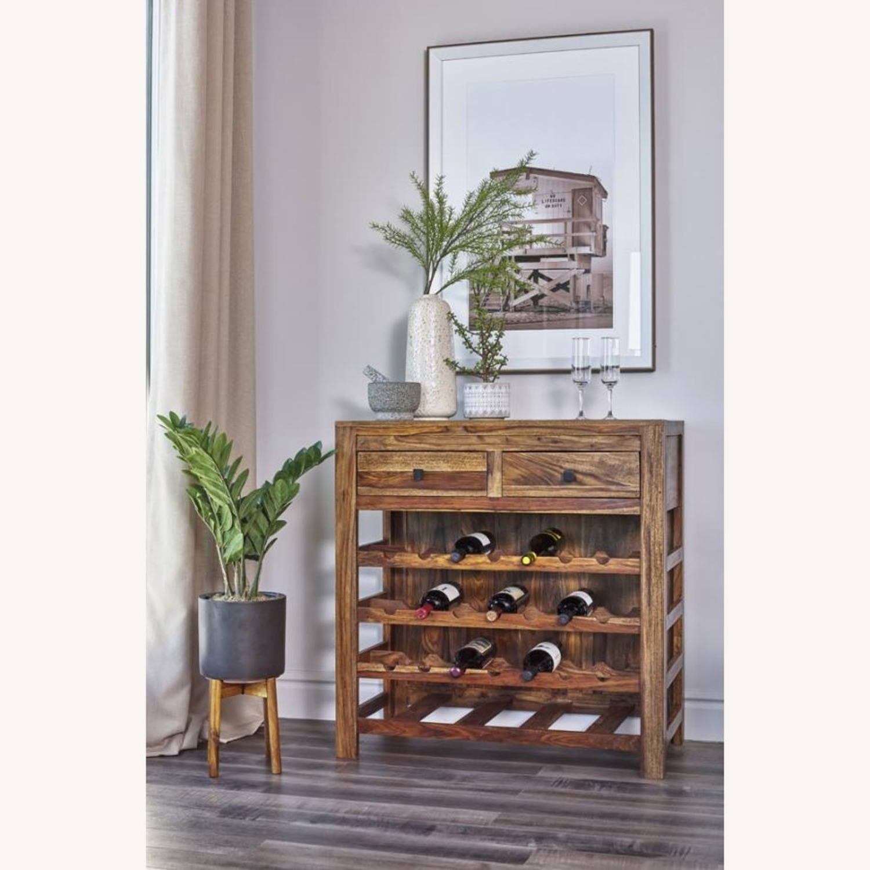 Wine Cabinet In Natural Sheesham Wood Finish - image-2