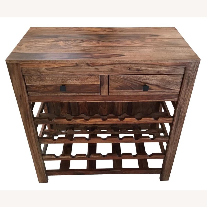 Wine Cabinet In Natural Sheesham Wood Finish - image-1