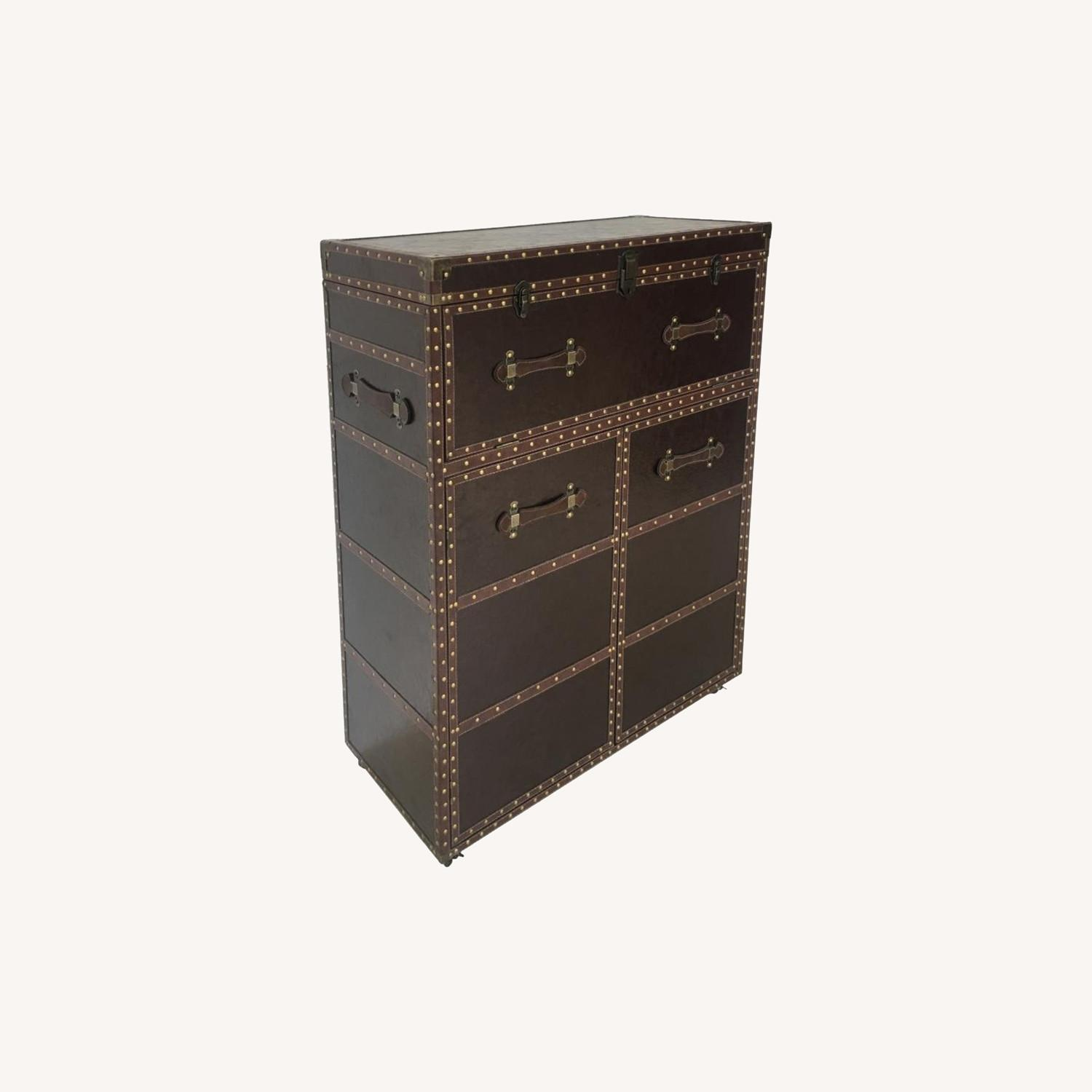 Bar Cabinet In Dark Brown Leatherette Finish - image-4