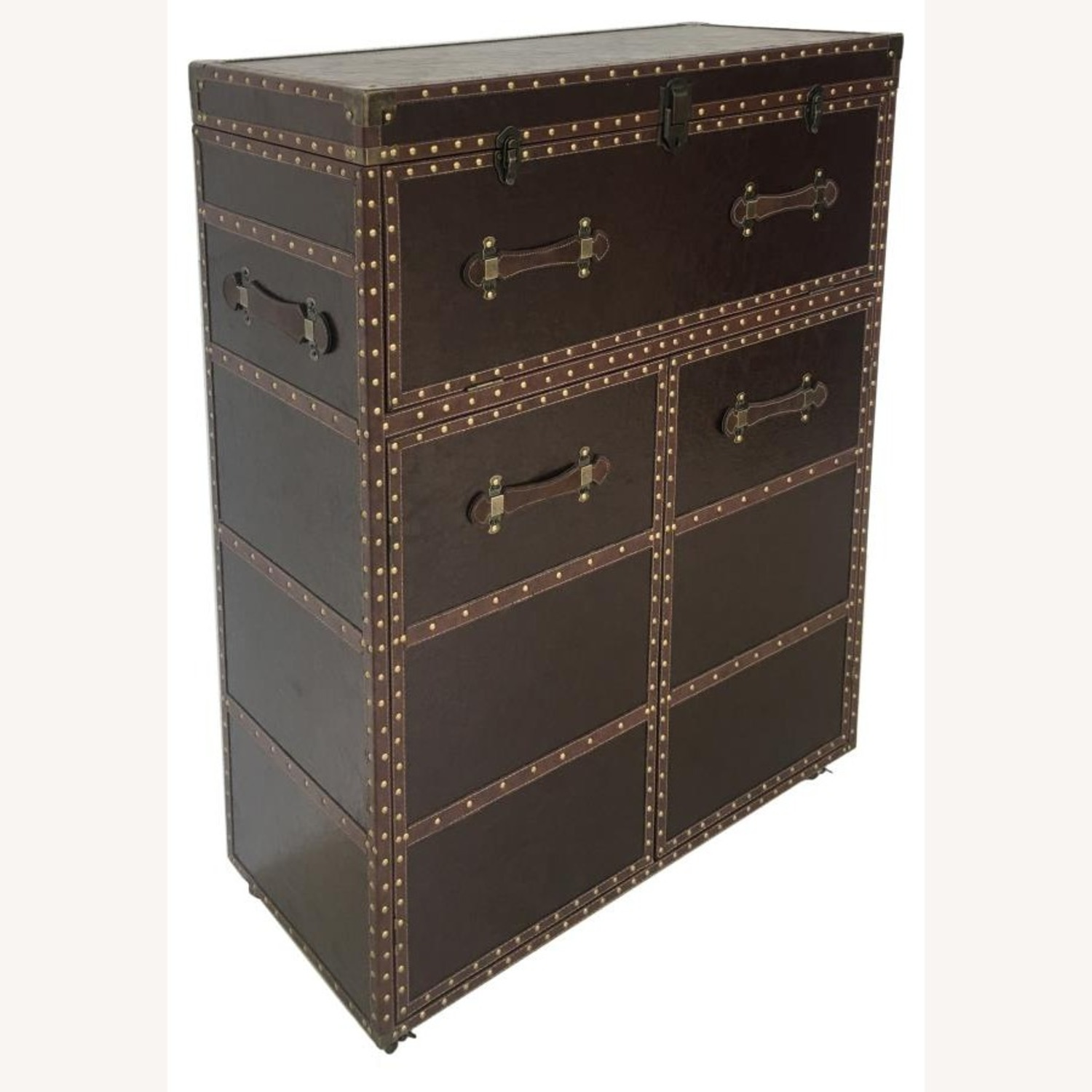 Bar Cabinet In Dark Brown Leatherette Finish - image-0