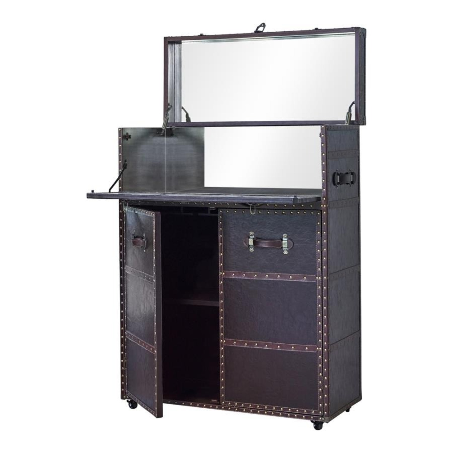 Bar Cabinet In Dark Brown Leatherette Finish - image-2