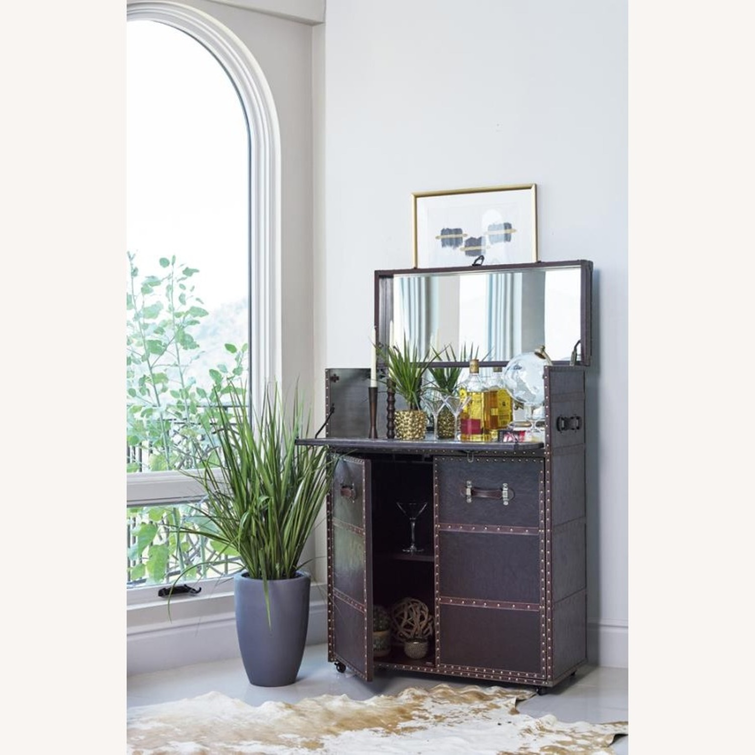 Bar Cabinet In Dark Brown Leatherette Finish - image-3