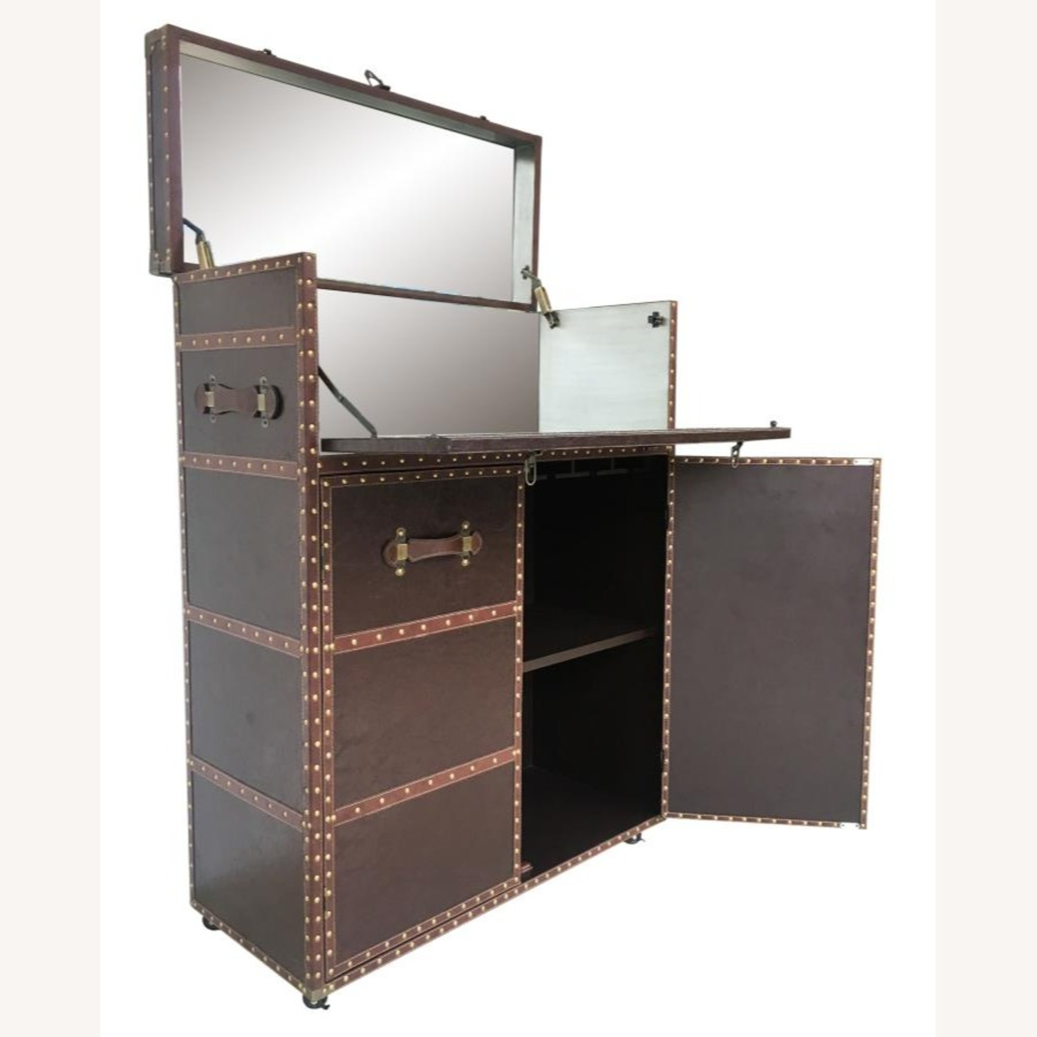 Bar Cabinet In Dark Brown Leatherette Finish - image-1