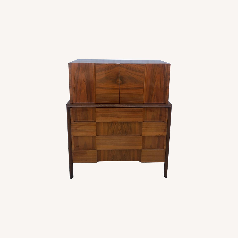 Mid Century Brutalist Style Highboy Dresser - image-0