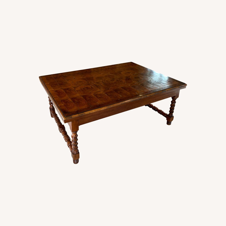 Inlaid Wood Coffee Table w/ storage drawer - image-0