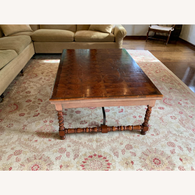 Inlaid Wood Coffee Table w/ storage drawer - image-2