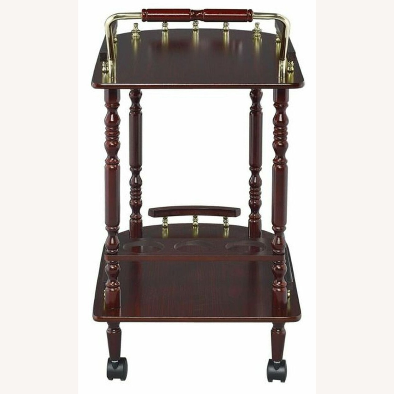 Serving Cart In Merlot & Brass Finish - image-1
