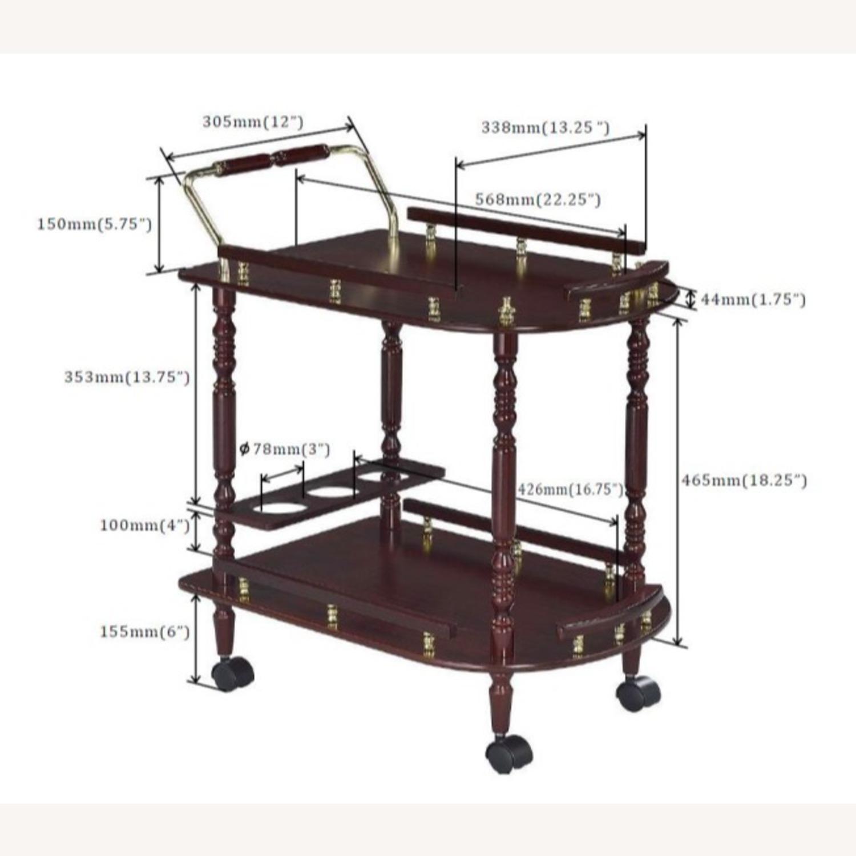 Serving Cart In Merlot & Brass Finish - image-6