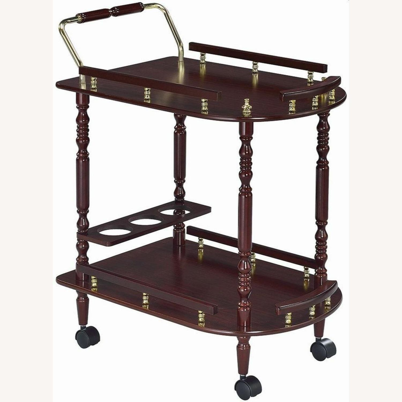 Serving Cart In Merlot & Brass Finish - image-0