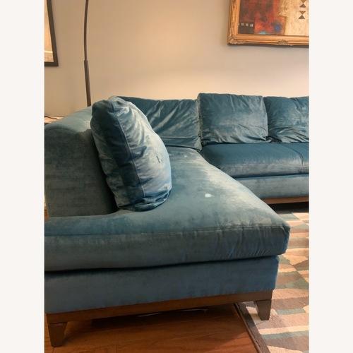 Used Kravet Turquoise velvet silk Sofa & Chaise Lounge for sale on AptDeco