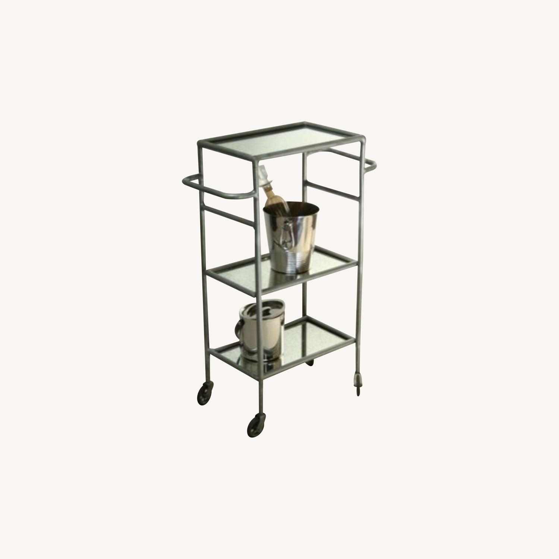 Iron and Antique Mirror Bar Cart - image-0