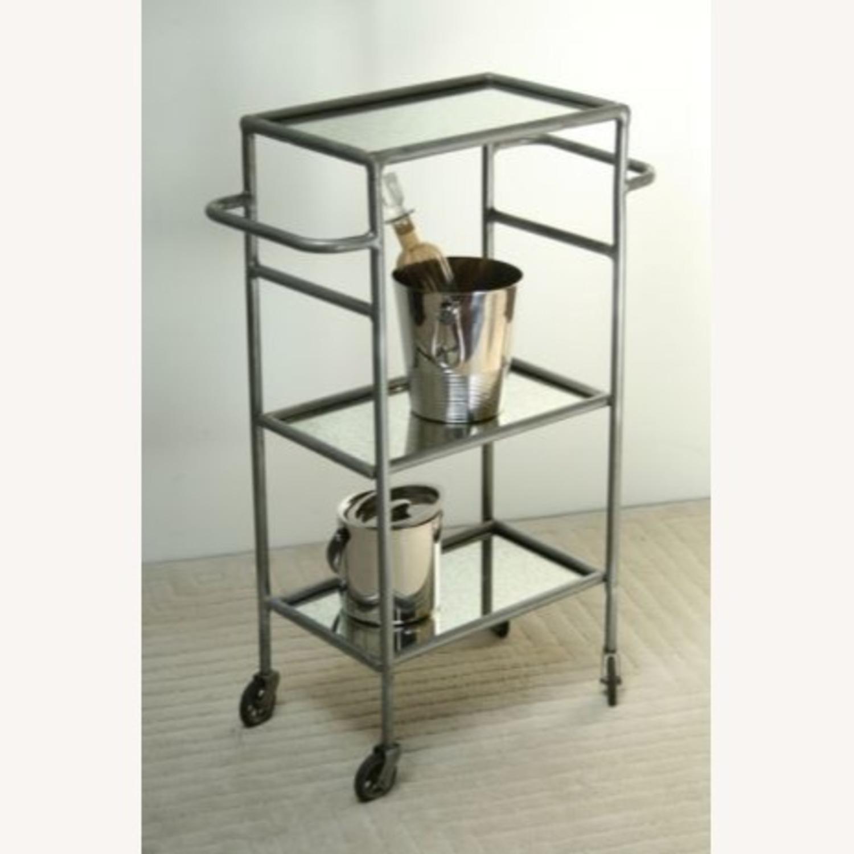 Iron and Antique Mirror Bar Cart - image-1