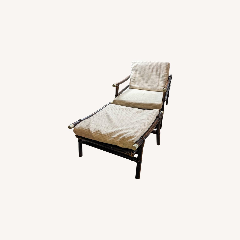 Ficks Reed Rattan Lounge Club Chair w/ Ottoman - image-0