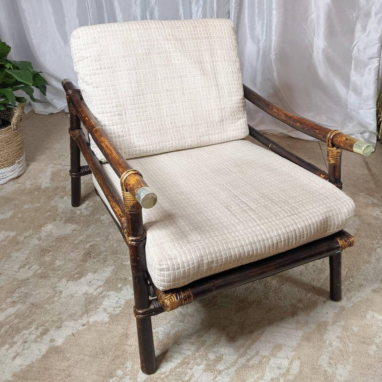 Ficks Reed Rattan Lounge Club Chair w/ Ottoman - image-7