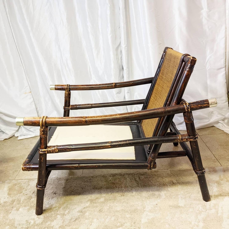 Ficks Reed Rattan Lounge Club Chair w/ Ottoman - image-5