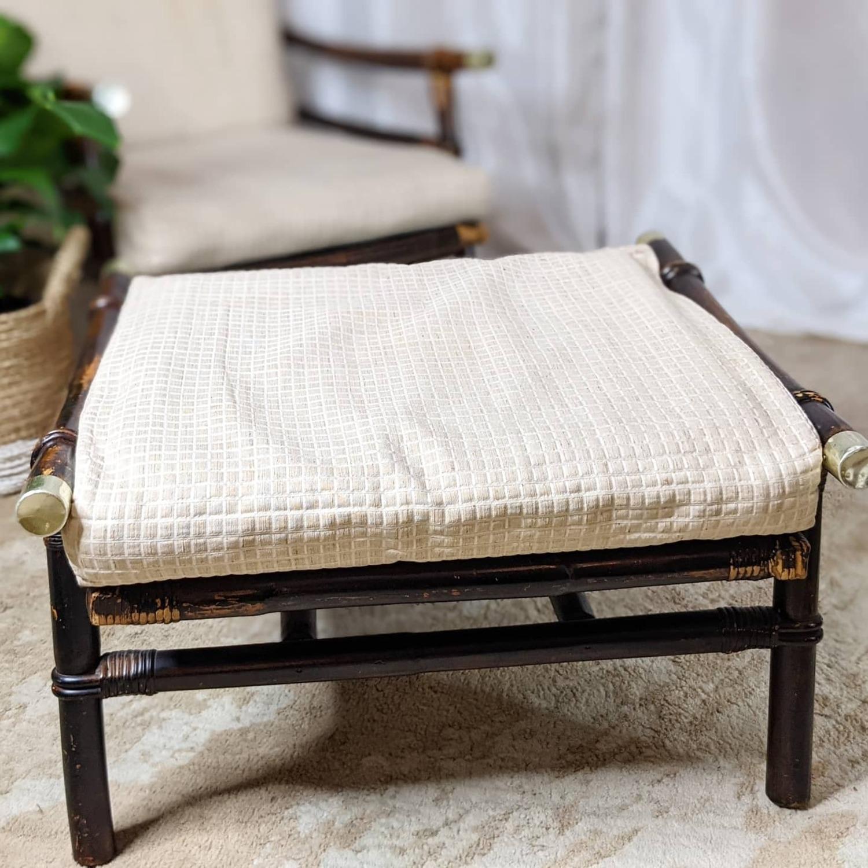 Ficks Reed Rattan Lounge Club Chair w/ Ottoman - image-3
