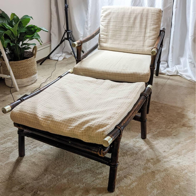Ficks Reed Rattan Lounge Club Chair w/ Ottoman - image-1