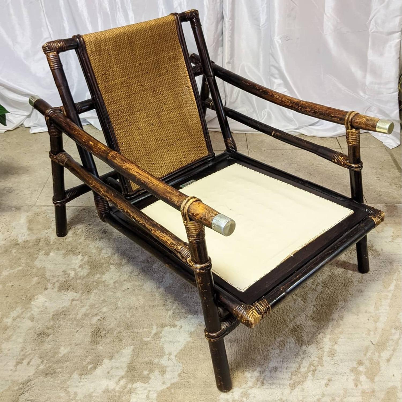 Ficks Reed Rattan Lounge Club Chair w/ Ottoman - image-4