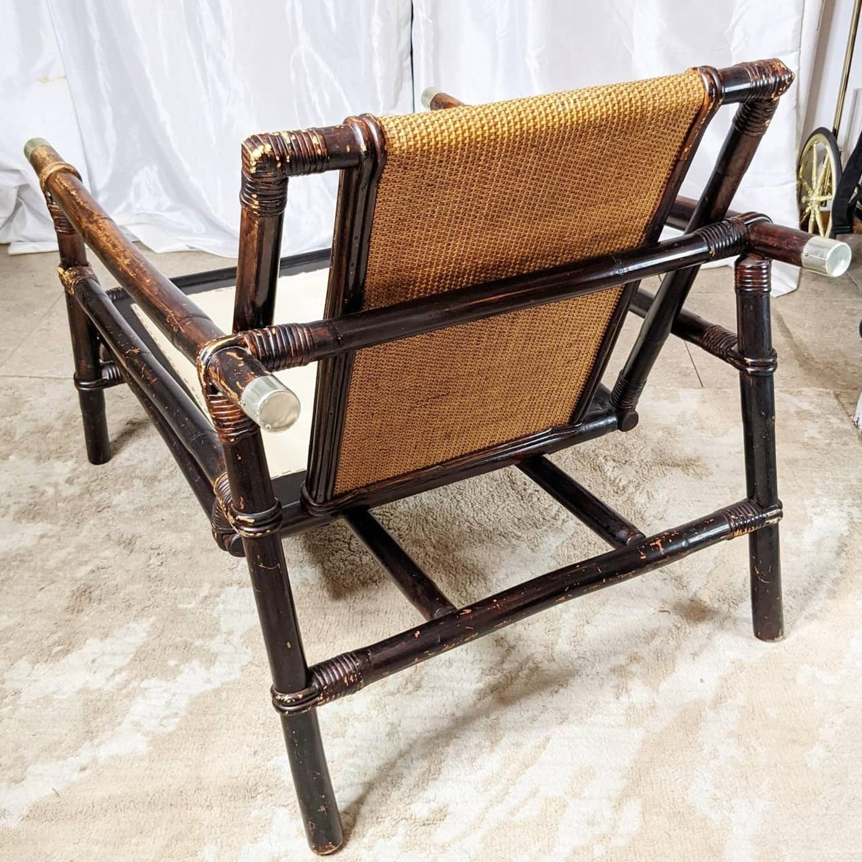 Ficks Reed Rattan Lounge Club Chair w/ Ottoman - image-6