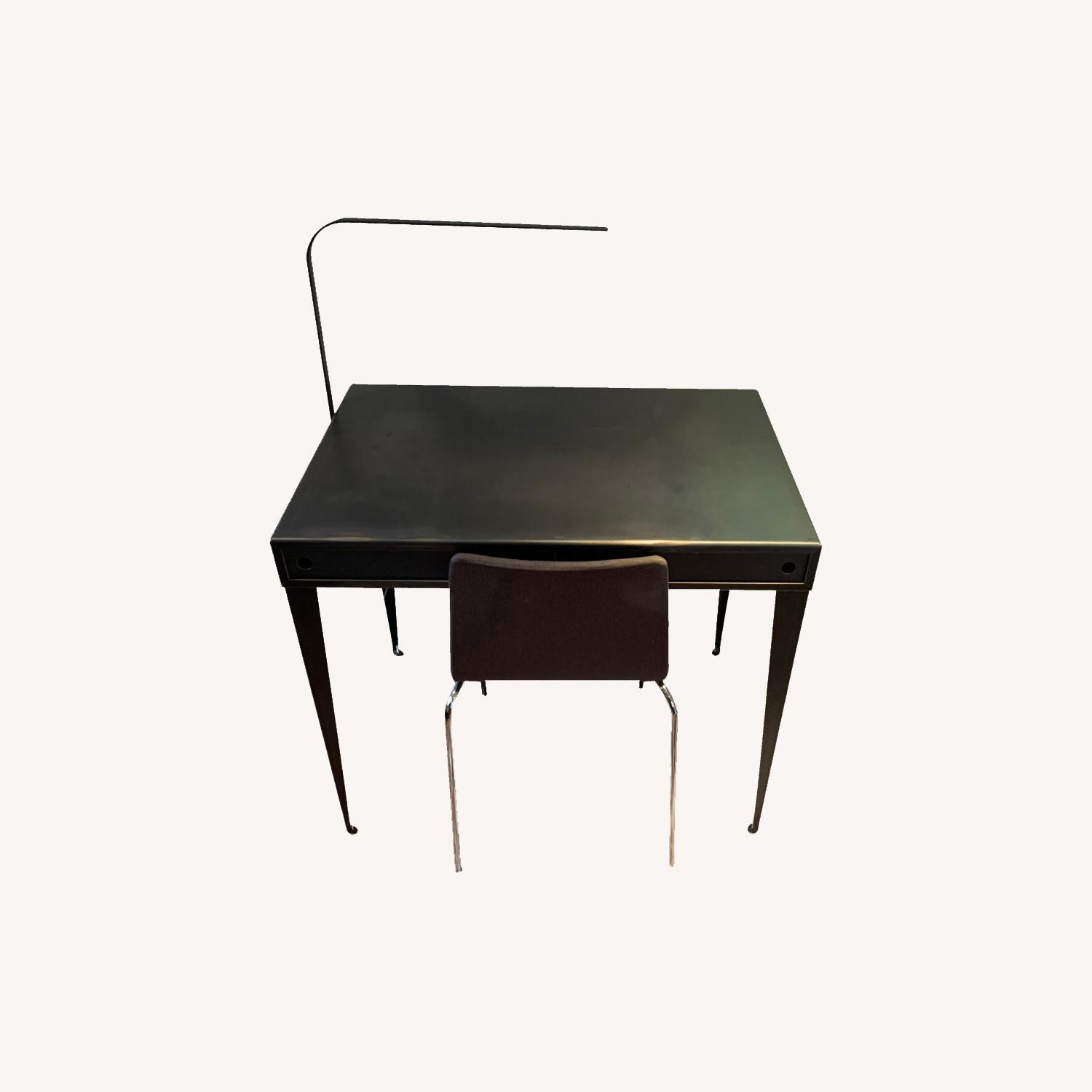 Steel Desk, LED lamp and Blu Dot Chair - image-0