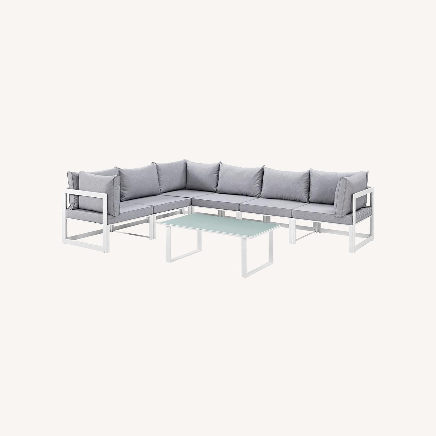 7-Piece Outdoor Sectional In Gray Fabric Cushion - image-7