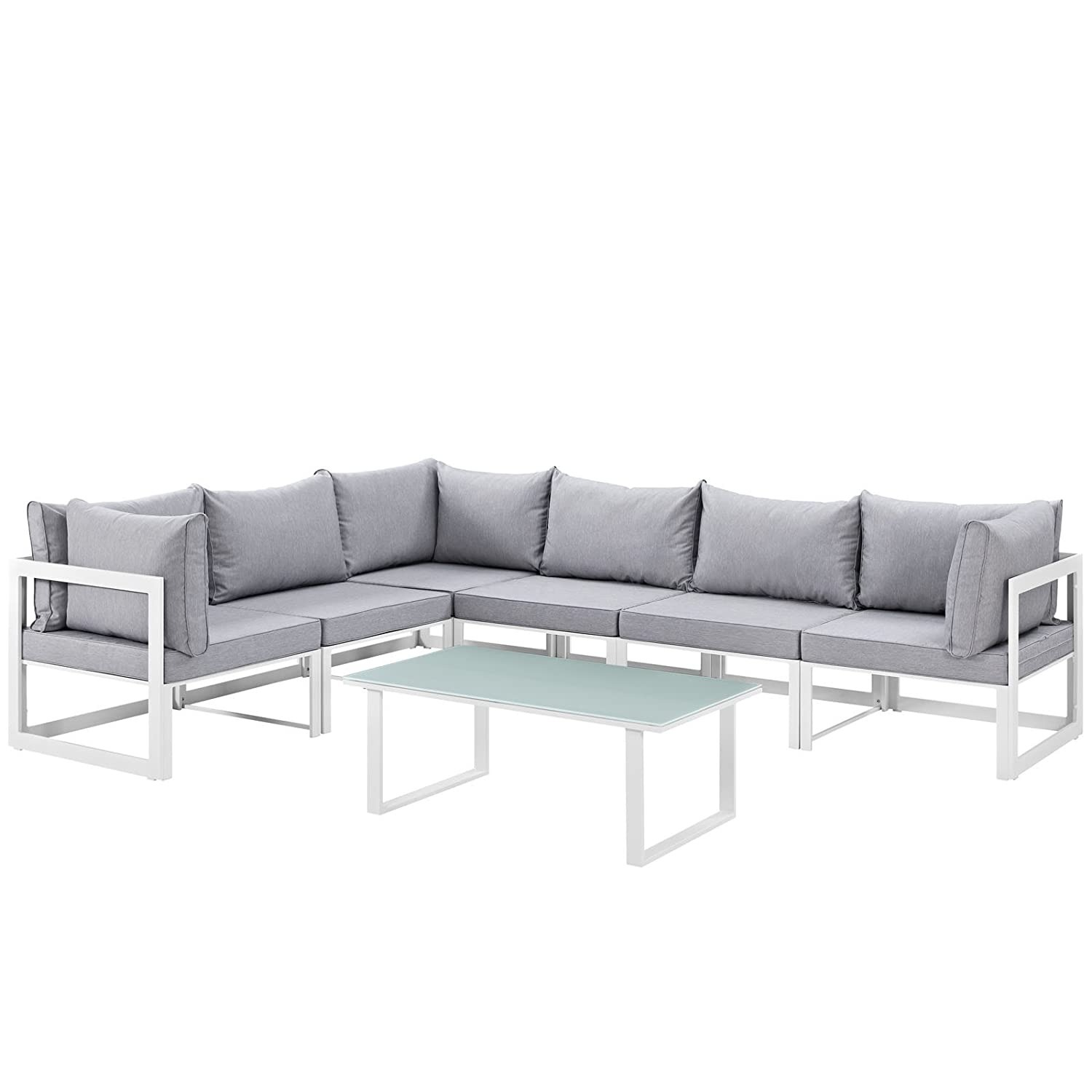 7-Piece Outdoor Sectional In Gray Fabric Cushion - image-0