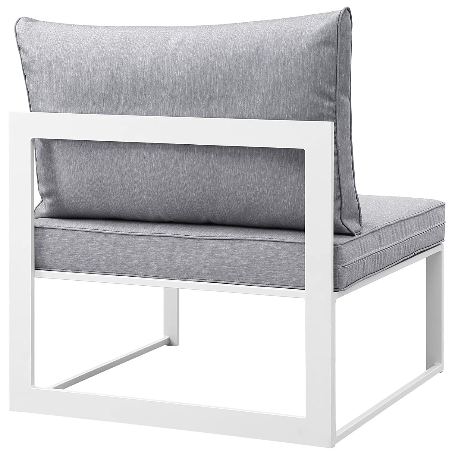 7-Piece Outdoor Sectional In Gray Fabric Cushion - image-4
