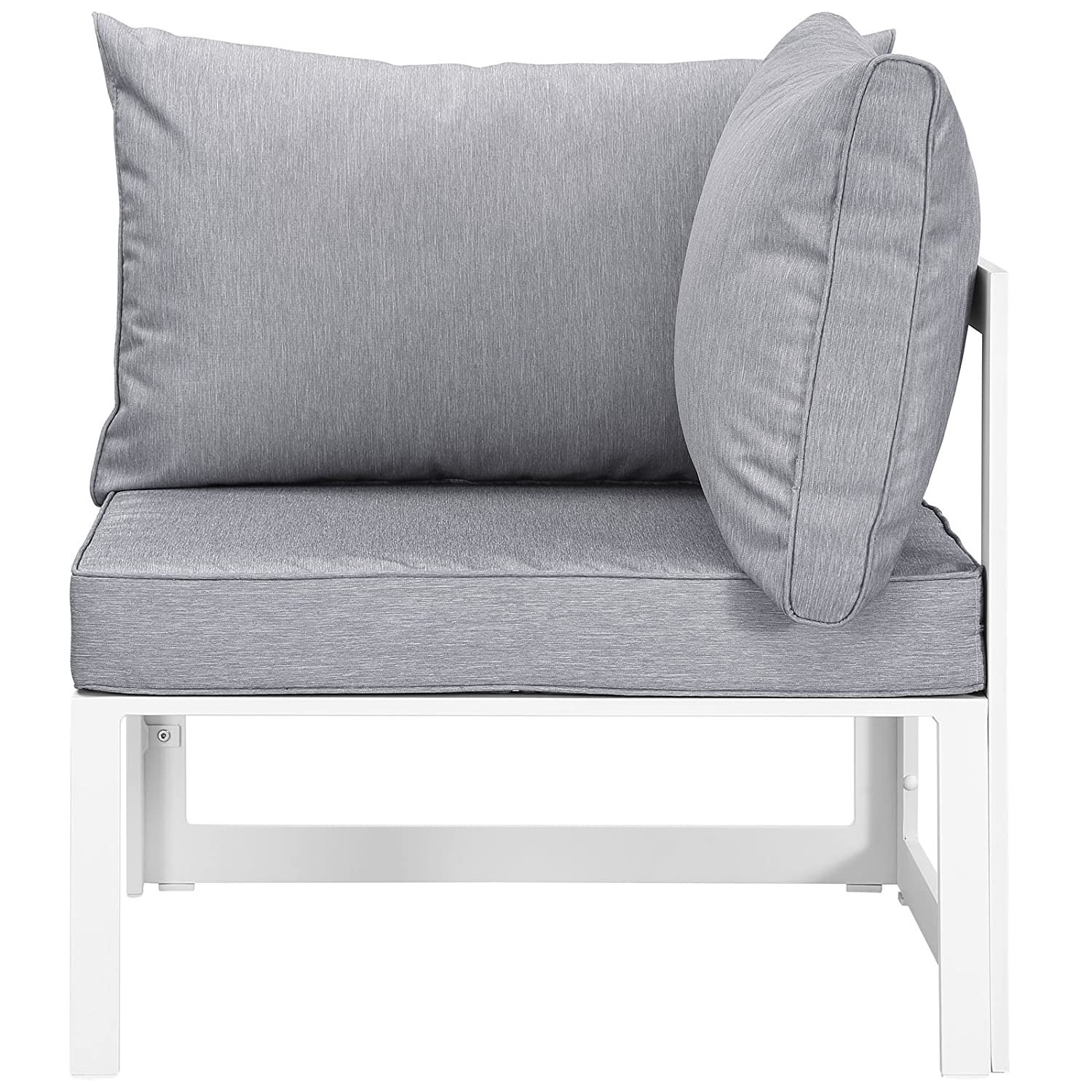 7-Piece Outdoor Sectional In Gray Fabric Cushion - image-2