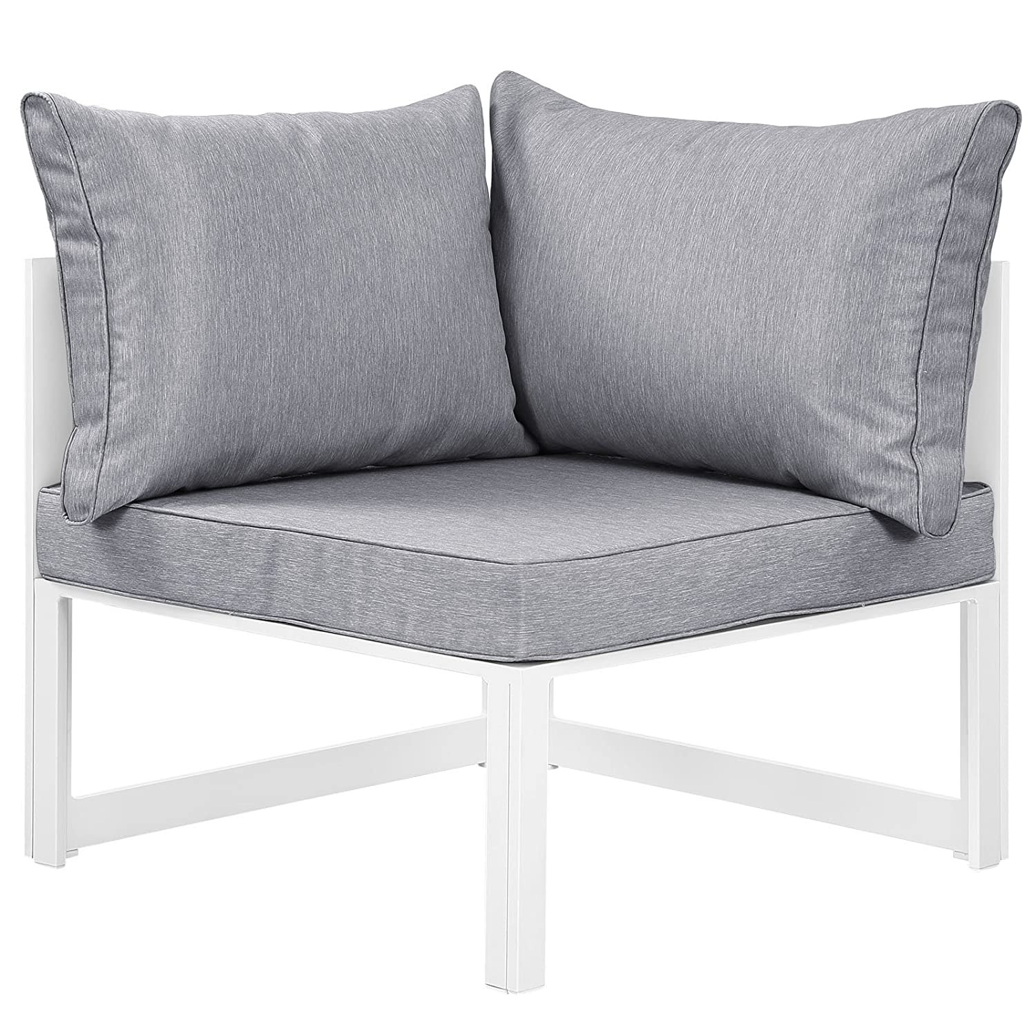 7-Piece Outdoor Sectional In Gray Fabric Cushion - image-1