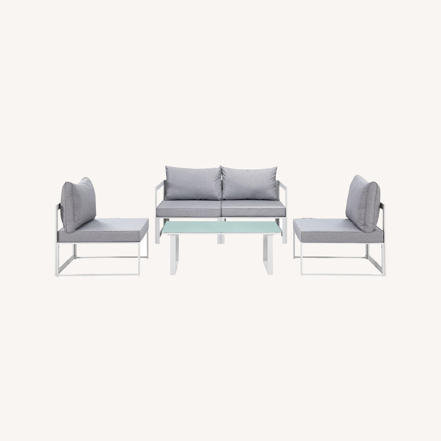 5-Piece Outdoor Sectional In Gray & White Finish - image-6
