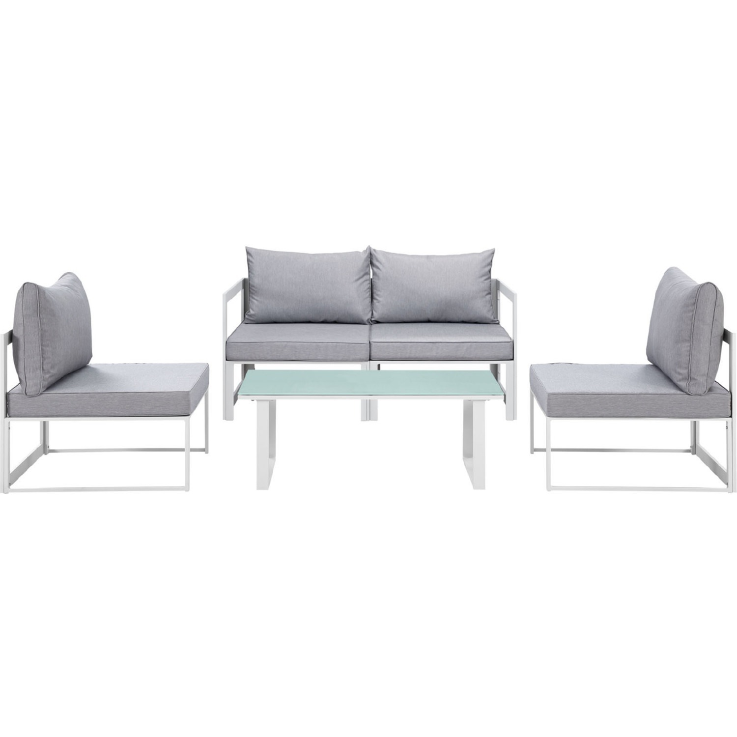 5-Piece Outdoor Sectional In Gray & White Finish - image-0
