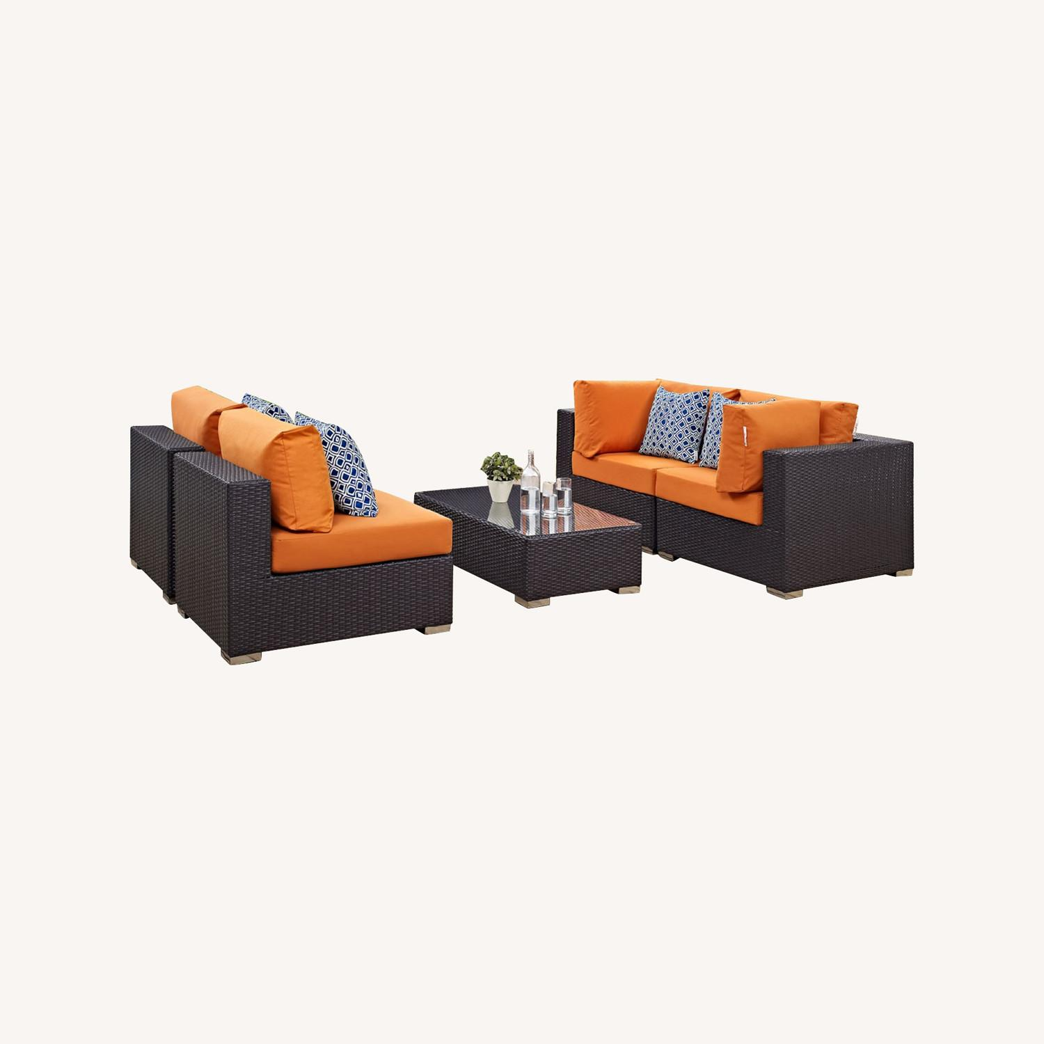 5-Piece Outdoor Sectional In Orange Fabric Cushion - image-4