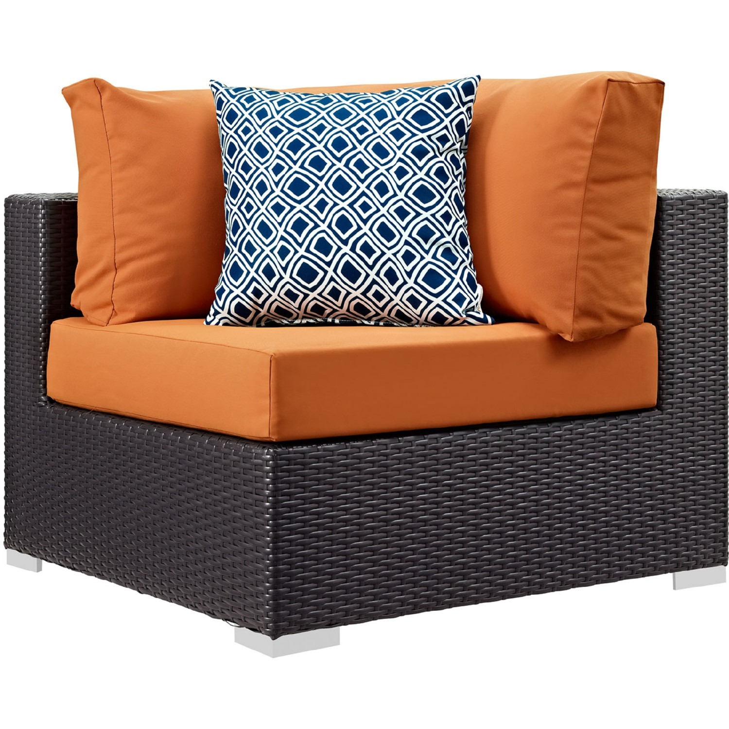 5-Piece Outdoor Sectional In Orange Fabric Cushion - image-1
