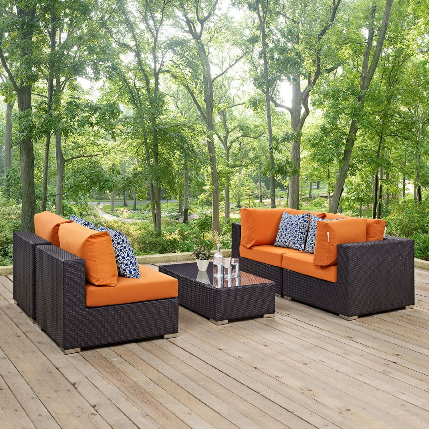 5-Piece Outdoor Sectional In Orange Fabric Cushion - image-0