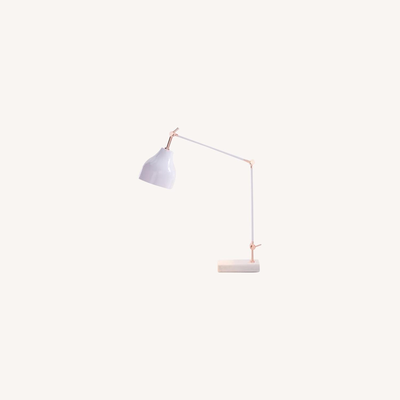 West Elm Stone Base Copper Adjustable Table Lamp - image-0