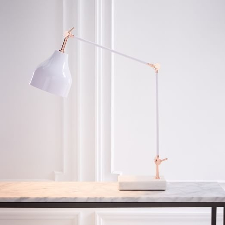 West Elm Stone Base Copper Adjustable Table Lamp - image-1