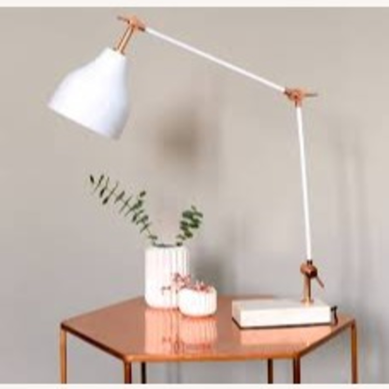 West Elm Stone Base Copper Adjustable Table Lamp - image-2