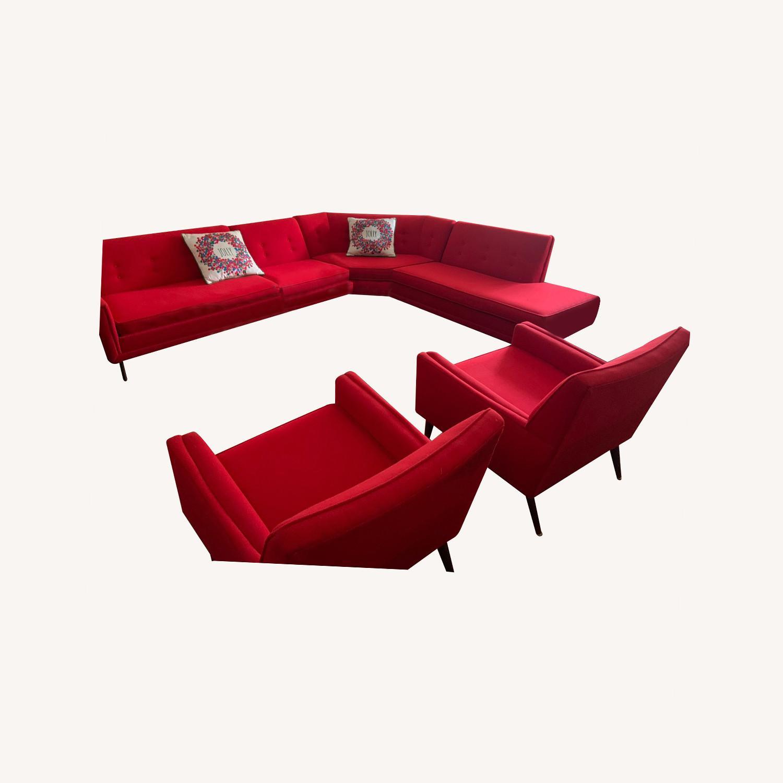 Kroehler Vintage Sectional Set in Bright Red - image-0