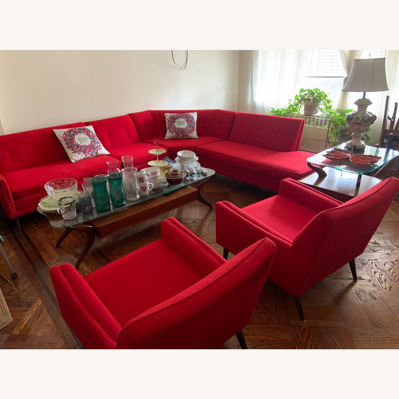 Kroehler Vintage Sectional Set in Bright Red - image-1