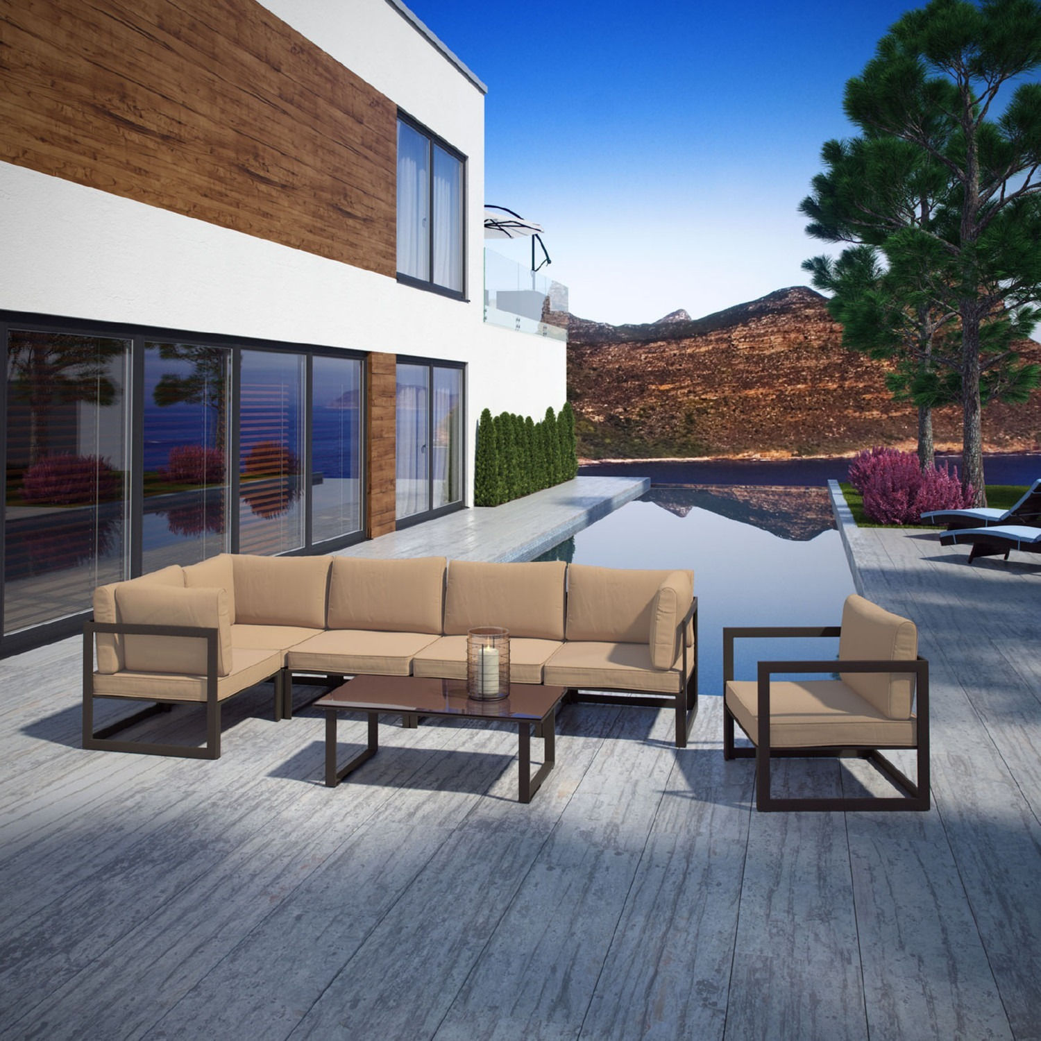 7-Piece Outdoor Sectional In Mocha & Brown Finish - image-9