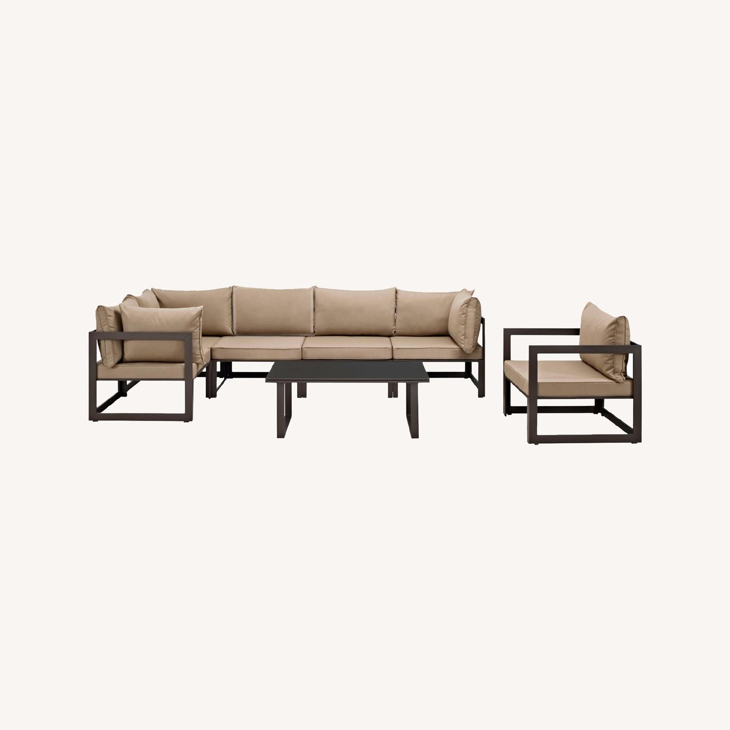 7-Piece Outdoor Sectional In Mocha & Brown Finish - image-10