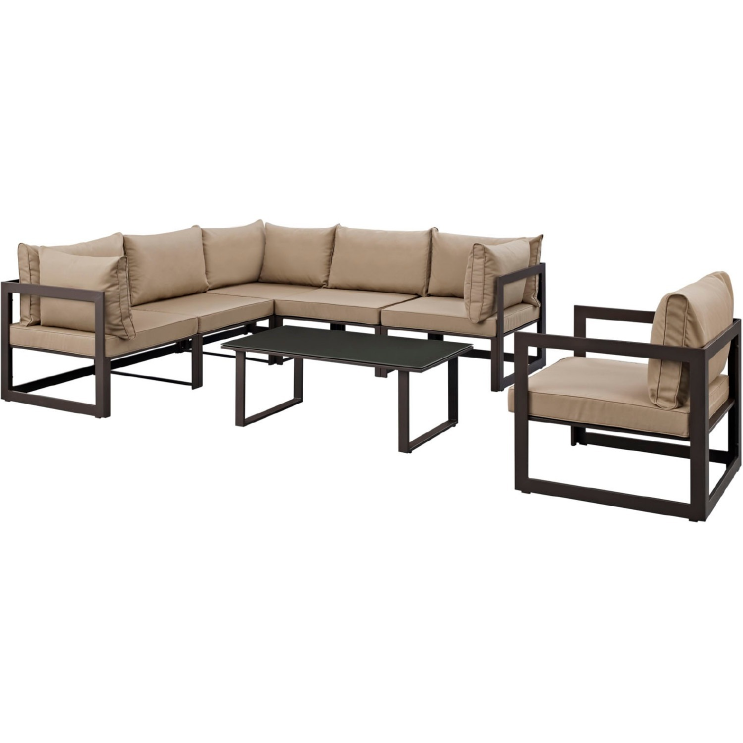 7-Piece Outdoor Sectional In Mocha & Brown Finish - image-2