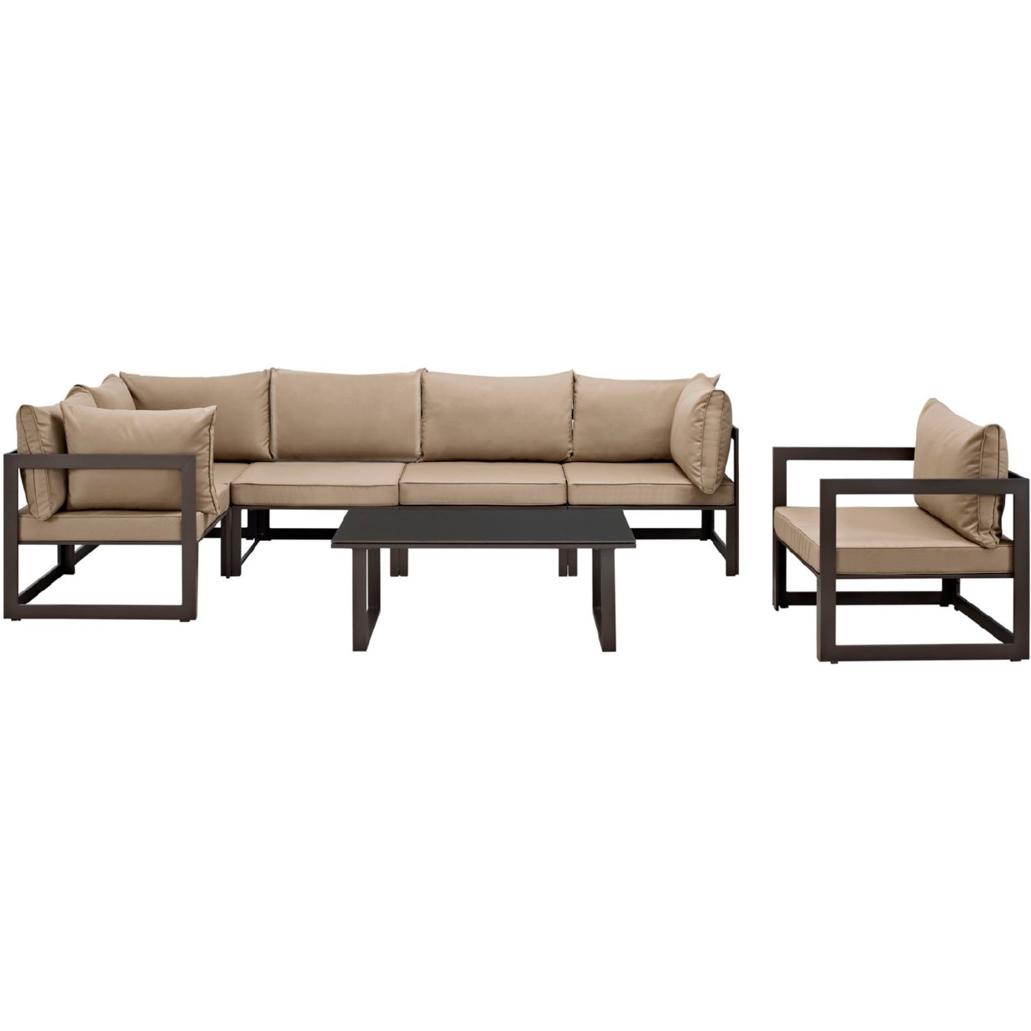 7-Piece Outdoor Sectional In Mocha & Brown Finish - image-0