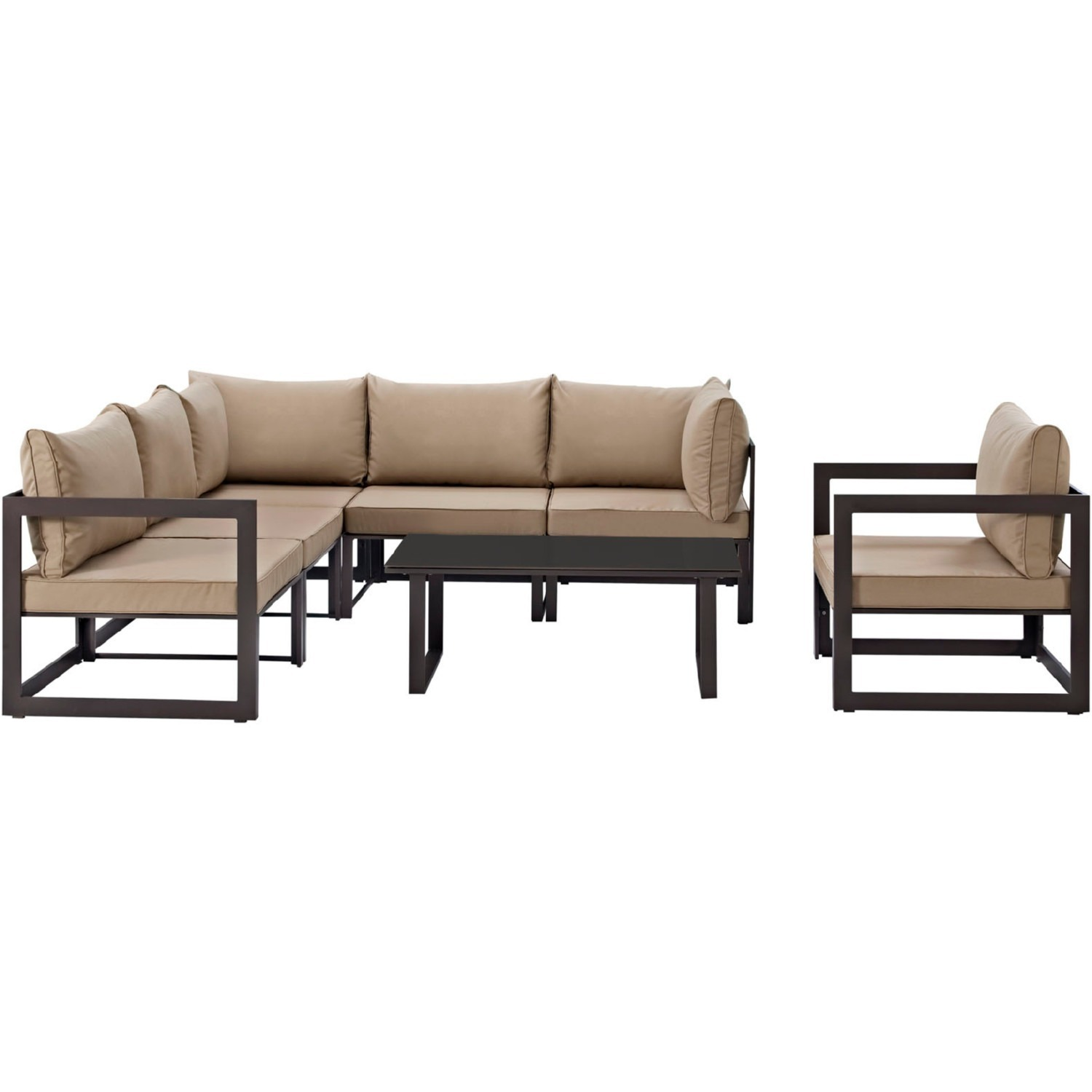 7-Piece Outdoor Sectional In Mocha & Brown Finish - image-1